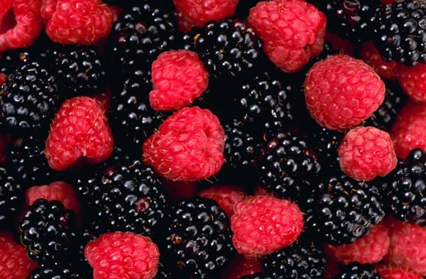 raspberries, blackberries