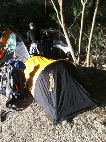 I slept in a sleeping bag on a 1-inch thick foam pad in this Eureka Solitaire 1-man tent.