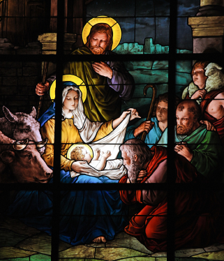 Stained glass window created by F. Zettler (1878-1911) at the German Church (St. Gertrude's church) in Gamla Stan in Stockholm, depicting a Nativity Scene. This window was created more than 100 years ago, no property release is required.christmas
