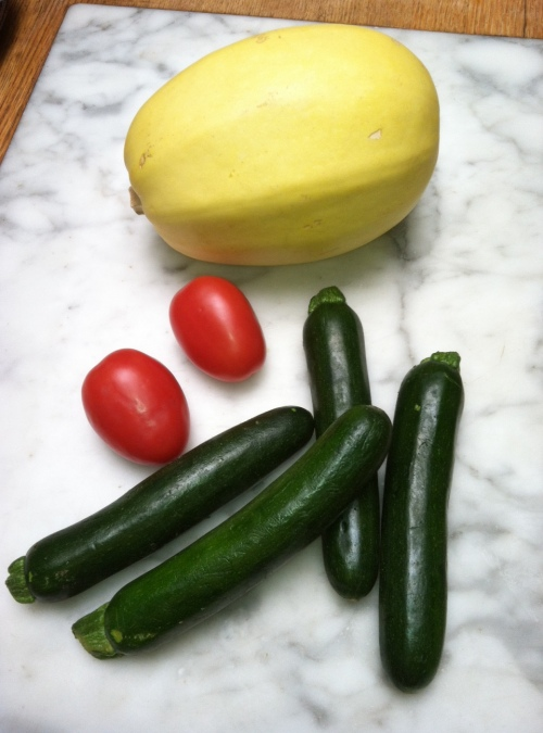 Zucchini, roma tomatoes, and spaghetti squash