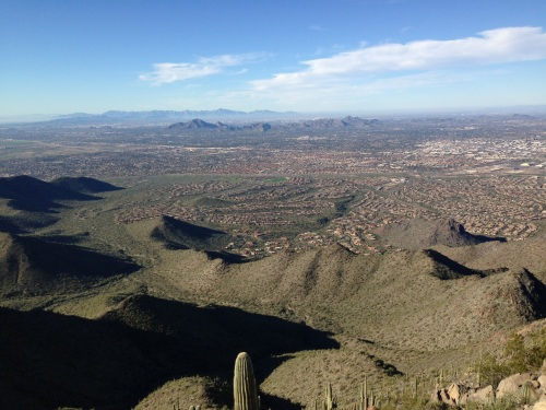 Scottsdale, Arizona, in the foreground; Phoenix way in the distance
