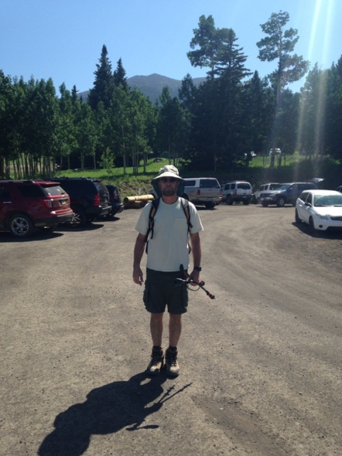My daughter snapped this picture of me in the parking lot at the trailhead