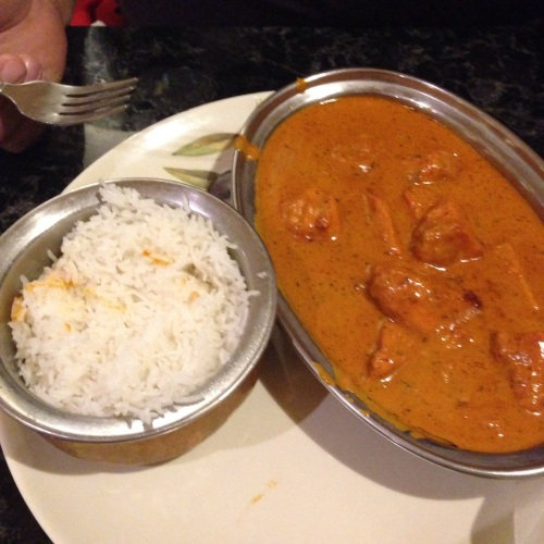 "Chicken Tikka Masala with a ""traditional North Indian sauce"" of roma tomatoes, fenugreek, and garam masala."