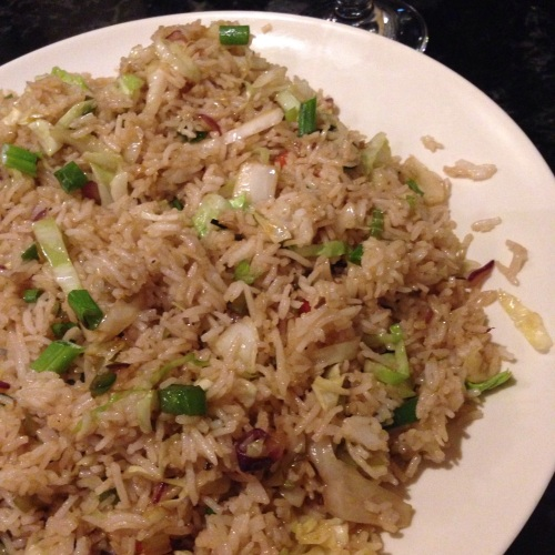 Vegetarian Fried Rice with bits of cabbage, carrot, celery, and (?) cilantro.