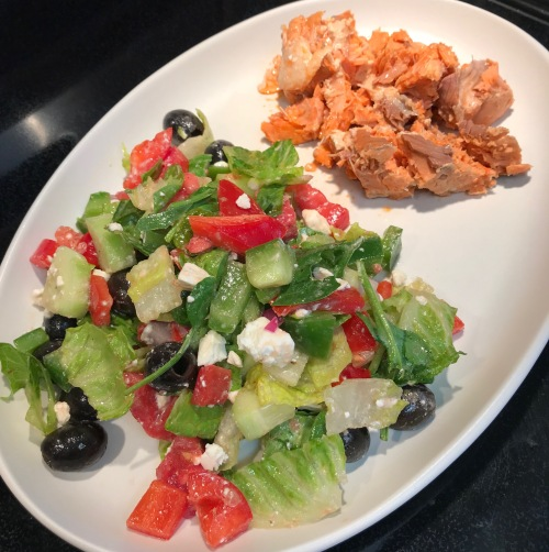 salmon, salad