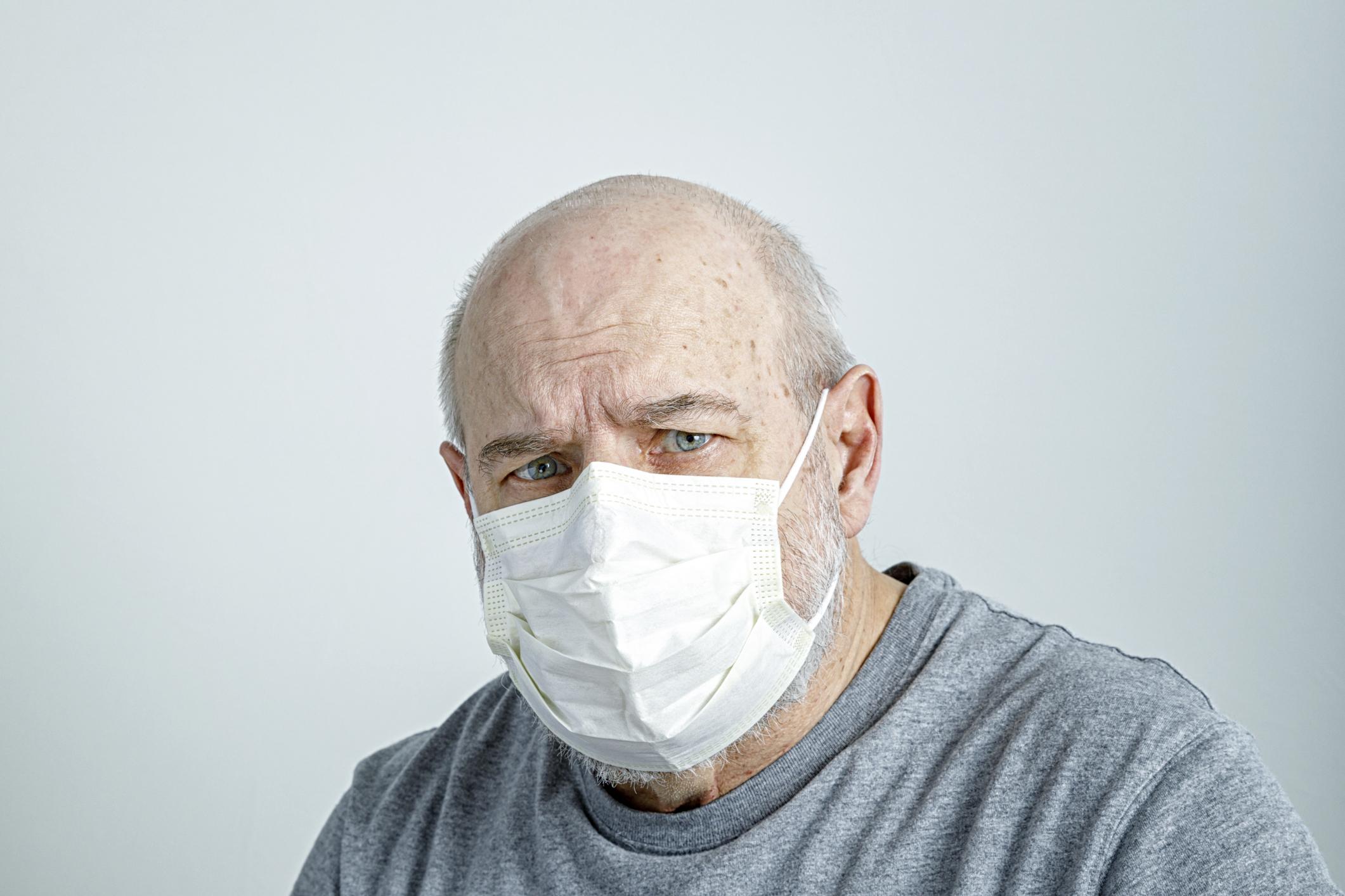 elderly man, face mask